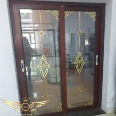 Mẫu cửa nhôm kính cao cấp kết hợp với kính hộp nan trang trí